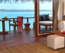 over-water bungalows with contemporary decor, coral garden, private sun lounge with direct access in to the lagoon